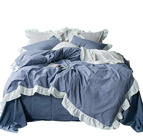 SUSYBAO 100% Washed Cotton 3 Pieces Vintage Ruffle Duvet Cover Set Queen Size Blue Striped Girls Lace Bedding Set with Zipper Ties 1 Shabby Chic Duvet Cover 2 Pillow Shams Hotel Quality Soft Durable