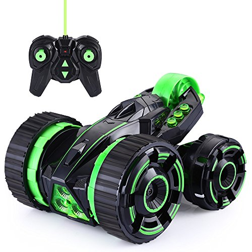 Smartlife Remote Control Stunt Car RC Vehicle 5 Wheels 360 Degree Rotating with LED Headlights Extreme High Speed Race Car (Green)