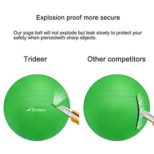 Exercise Ball, Yoga Ball, Birthing Ball with Quick Pump, Anti-Burst & Extra Thick, Heavy Duty Ball Chair 45cm 55cm 65cm 75cm 85cm Stability Ball Supports 2200lbs (Office&Home) (Lime, 45cm) by Trideer (Image #3)