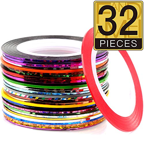 32 Colors Nail Striping Tape Line, FANDAMEI Multicolor Rolls Striping Tape Line Nail Art Decoration Sticker DIY Nail Tip