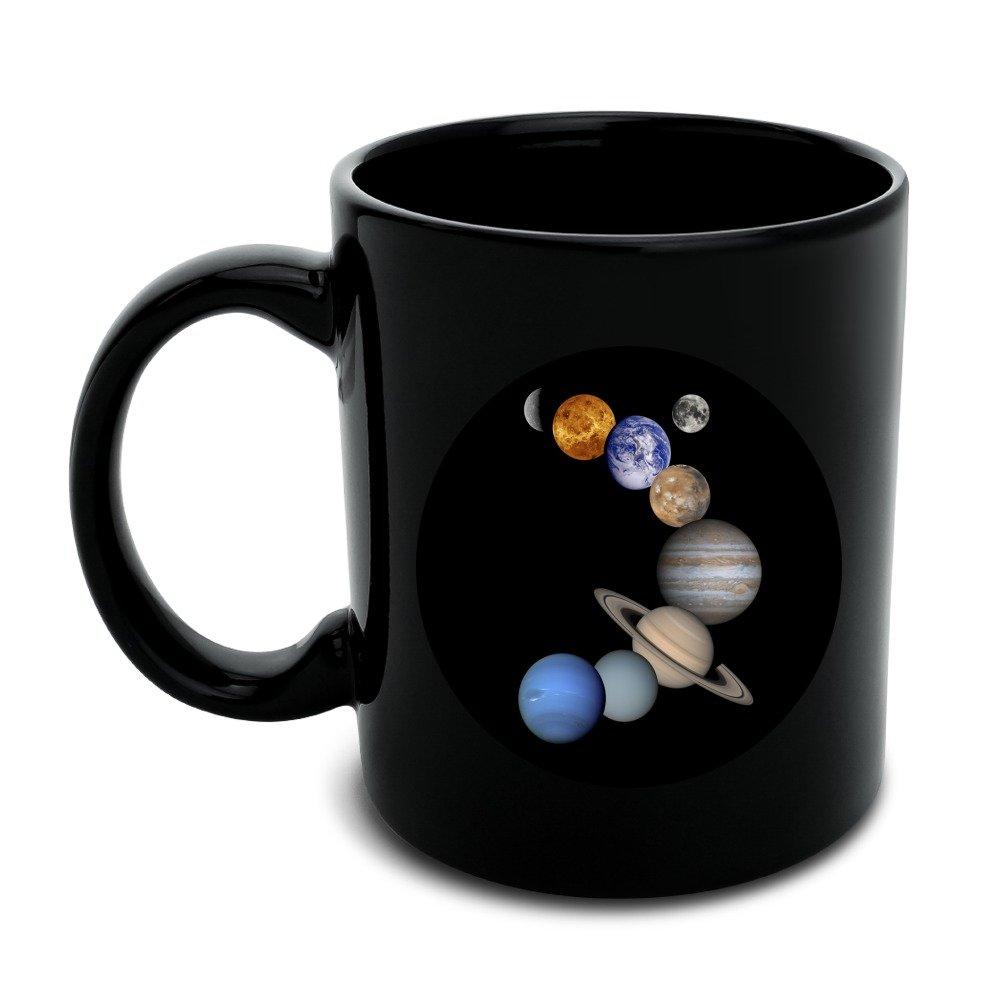 Solar System Planets Mercury Venus Mars Earth Moon Jupiter Saturn Uranus Neptune Black Mug