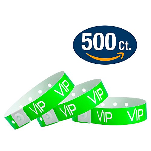 WristCo Neon Green VIP Plastic Wristbands - 500 Pack Wristbands For Events