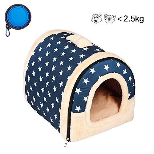 Enko 2 en 1 Comodo Casa para Mascotas y Sofa, Interiores y Exteriores Portatil Plegable de Cama para Perro/Cama para Gato Una Casa Caliente para su Mascota (<3kg de Mascota)