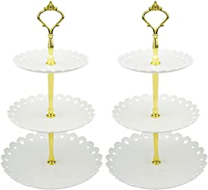 LIONWEI LIONWELI 3-tier White Gold Plastic Dessert Stand Pastry Stand Cake Stand Cupcake Stand Holder Serving Platter for Party Wedding Home Decor-Small-set of 2