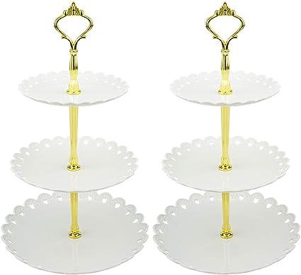 "Fête 14/"" Gâteau Stand ou Afficher piédestal Moderne Blanc Mariage"