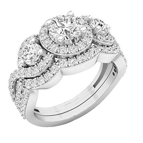 2.00 Carat (ctw) 14K White Gold Round Diamond 3 Stone Bridal Engagement Ring Set 2 CT (Size 7)
