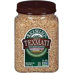 RiceSelect Texmati Brown Rice, Long Grain, Whole Grain, Gluten-Free, Non-GMO, 32 oz (Pack of 4 Jars)