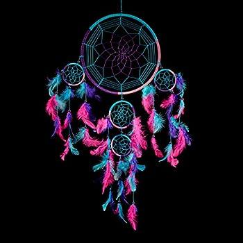 2403b9b8117fb Caught Dreams Dream Catcher ~ Handmade Traditional Aqua Blue, Pink & Purple  8.5