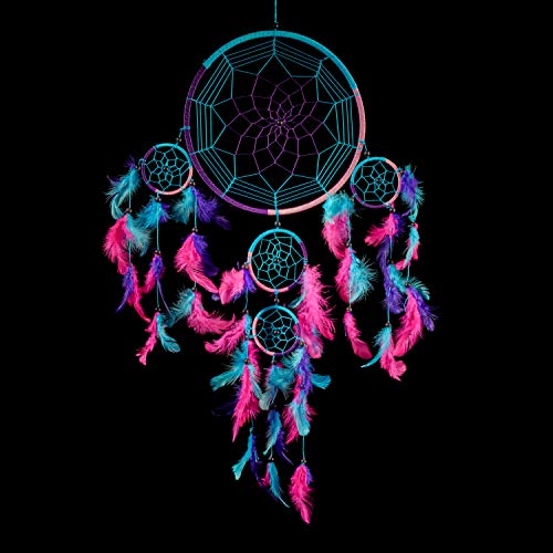 Caught Dreams Dream Catcher ~ Handmade Traditional Aqua Blue, Pink & Purple 8.5″ Diameter & 24″ Long!