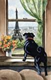 """Black Pug"" Dog Art Print Signed by Artist DJ Rogers"
