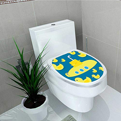 Philip C. Williams Toilet Seat Wall Stickers Paper Duckies Swimming in The Sea with a Yellow Sub Party Print Yellow Decals DIY Decoration W11 x L13