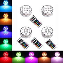 10 LED Remote Controlled RGB Submersible LED Lights AAA Battery Operated Multi Color Waterproof LED Decorative Lights for Lighting Up Vase, Bowl, Fish Tank, Wedding, Centerpiece, Halloween, Party Lights (4pcs LED)