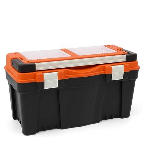 Gran caja de herramientas Naranja 27 kg de carga máxima para taller maletín de herramientas