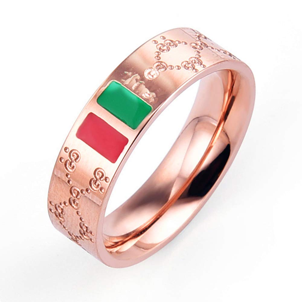Luxury Shine Celebrity Ring Classic Red And Green Bar TISCO Ring(6)