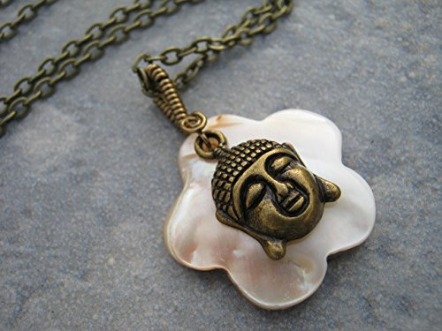 Buddha Mother of Pearl Necklace, Wire Wrapped Shell Pendant, Antiqued BRONZE, Handmade Beach Necklace