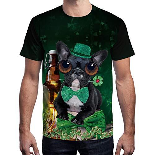 HYIRI Unisex Men Women's Fake Tie Black Dog Print Round Neck T-Shirt Short Sleeve Tee Shirt Top