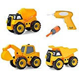 Build Me Set of 3 Take Apart Construction Truck Toys - Dump Truck, Cement Truck, Excavator with Sounds – Educational Build It Yourself Vehicles with Battery Powered Drill