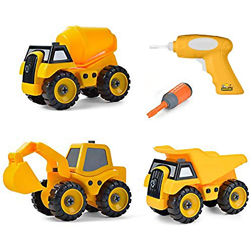 Build Me Set of 3 Take Apart Construction Truck Toys - Dump Truck, Cement Truck, Excavator Truck with Sounds – Educational Build It Yourself with Battery Powered Drill - Hours of Fun - Toddlers Engi