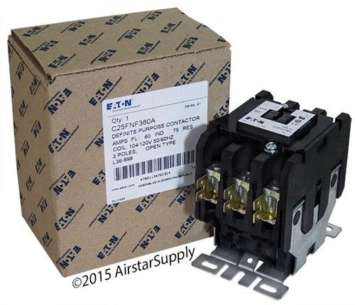 Contactor Pole 480vac Coil Single (Eaton C25FNF360A Definite Purpose Contactor, 50mm, 3 Poles, Box Lugs, Quick Connect Side By Side Terminals, 60A Current Rating, 5 Max HP Single Phase at 115V, 20 Max HP Three Phase at 230V, 40 Max HP Three Phase at 480V, 120VAC Coil Voltage)
