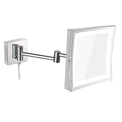 Specchio Per Trucco Da Parete.Hzjm Specchio Trucco Da Parete Per Bagno Led Cosmetico Pieghevole