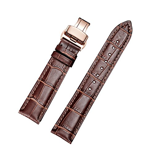 EHHE ZPF Calfskin Leather Watch Bands with Rose Gold Deployment Buckle for Men and Women 18mm-24mm (Band Watch Calfskin)