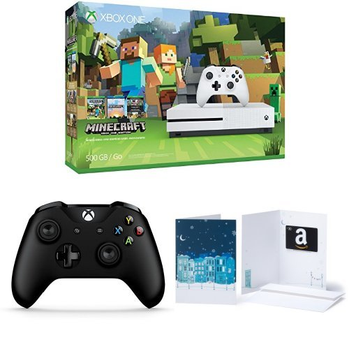 Xbox One S 500GB Console – Minecraft + Extra Controller + $30 Gift Card Bundle