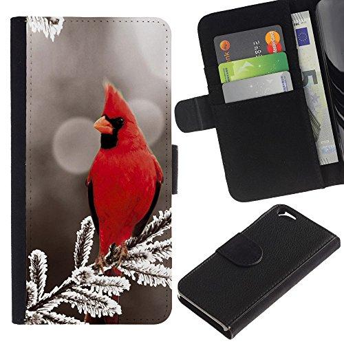 EuroCase - Apple Iphone 6 4.7 - Majestic Red Bird - Cuir PU Coverture Shell Armure Coque Coq Cas Etui Housse Case Cover