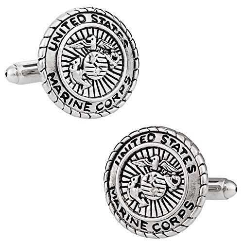 Cuff-Daddy USMC Marine Corp Cufflinks Silver with Presentation Box