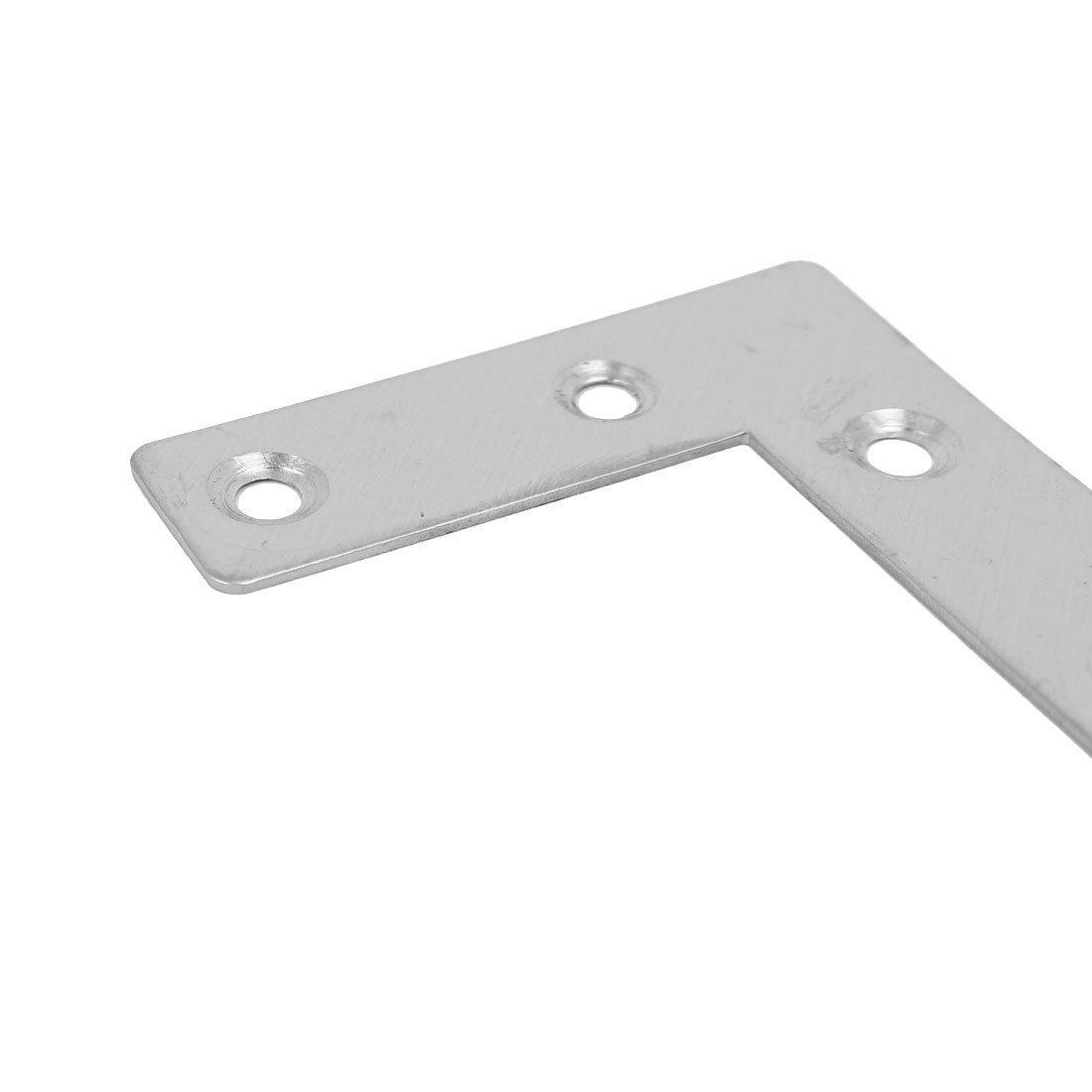 sourcing map 50mmx50mm acciaio inossidabile Elemento di fissaggio giunto Staffa angolare piatta forma L piastra 4pz