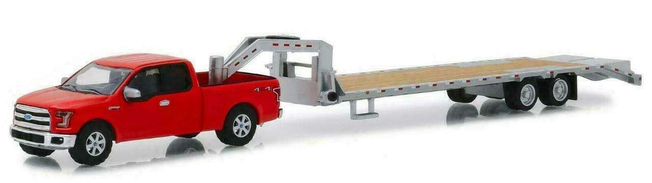 2017 Ford F-150 Pickup Truck Red with Gooseneck Trailer Hitch & Tow Series 1/64 Diecast Models by Greenlight 32151 by Greenlight
