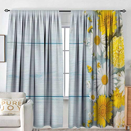 (curtains for living room Yellow Flower,Seasonal Garden Flowers on Blue Wooden Planks Rustic Arrangement Print,Yellow Pale Blue,Decor Collection Thermal/Room Darkening Window Curtains 84