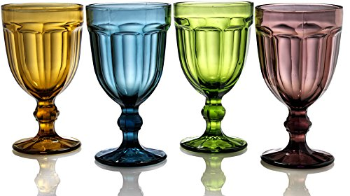 Circleware Rockford Wine Glass Goblets, Set of 4, Entertainment Dinnerware Drinking Glassware for Water, Juice, Beer and Bar Liquor Dining Decor Beverage Gifts, 19.4oz Amber, Blue, Green, Purple