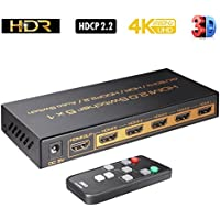 ZISO 4K@60Hz 5 Ports HDMI Switch, 5 in 1 Out with IR Wireless Remote,HDCP 2.2,UHD,CEC,HDR 4:4:4 HDR HDCP2.2 Supports PS4 Pro, UHD TV, Xbox One/360, Apple TV (HD-SW5AP)