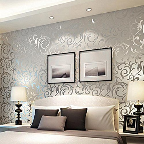 Meflying 3D Non-Woven Wallpaper Print Embossed Wall Decor Sticker, Damask Luxury Textured Pattern Home Wallpaper for Home (US Stock) ()