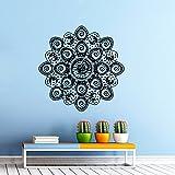 Sticker Mural Autocollant De Vinyle Stickers Art Intérieure Décor Murale Mandala Ornement Géométrique Indien Marocain Dessin Yoga Namaste Fleur Om Chambre à Coucher An82