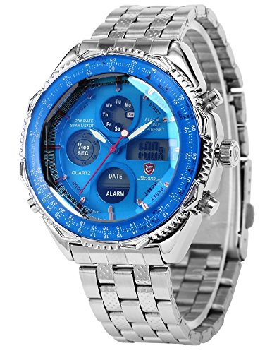 Mix&Rock SHARK Mens LCD Digital Date Day Stopwatch Stainless Steel Blue Dial Sport Wrist Watch