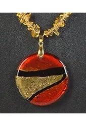 Marischino Circle Necklace Precious Gemstone Pendant Jewelry Jewel Gem