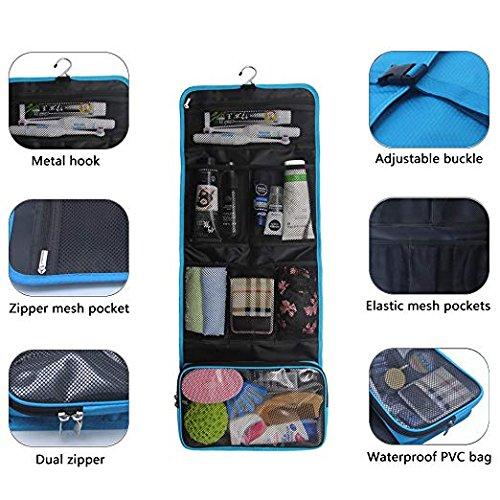 Travel Hanging Toiletry Bag Travel Kit Organizer Cosmetic Makeup Waterproof Wash Bag for Women Girls Travel Case for Bathroom Shower (sky blue)