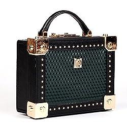Actlure Women Handmade Vintage Genuine Cow Leather Shoulder Crossbody Box Purse Clutch Handbag Green
