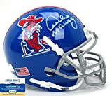 Archie Manning Autographed/Signed Ole Miss Rebels Schutt Powder Blue NCAA Mini Helmet with Colonel Reb Decal
