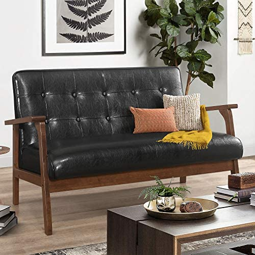 Modern Solid Loveseat Sofa Upholstered PU Leather Couch 2-Seat Wood Armchair Living Room Outdoor Lounge Chair,42 W Black