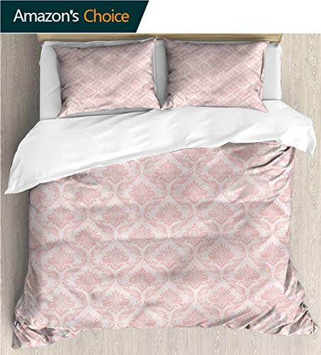 (VROSELV-HOME 3 Piece Quilt Coverlet Bedspread,Box Stitched,Soft,Breathable,Hypoallergenic,Fade Resistant Bedding Set for Kids,Boys and Teens-Damask Abstract Branches Swirls (104