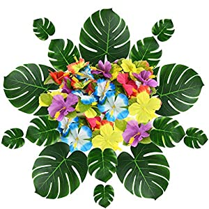 EyreLife Tropical Palm Leaves Monstera Hibiscus Flowers - Set of 54 - Artificial Silk Fabric Plant Simulation Leaf for Jungle Beach Theme, Hawaiian Luau, Safari Party Supplies & Table Decoration 34