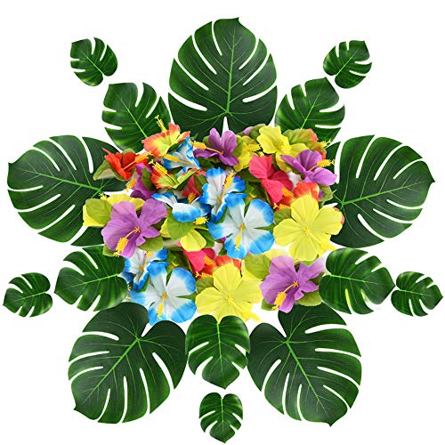 EyreLife Tropical Palm Leaves Monstera Hibiscus Flowers -