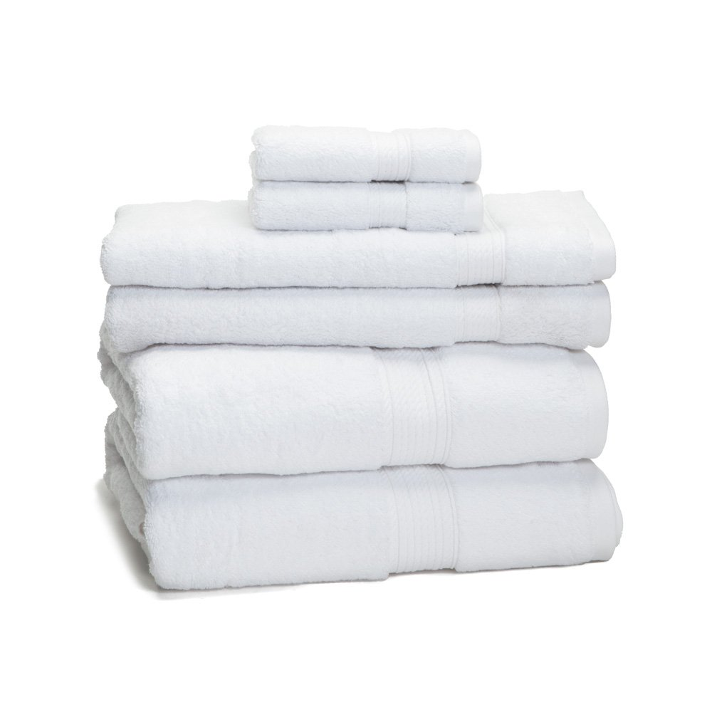 eLuxurySupply 900 Gram 6-Piece Egyptian Cotton Towel Set - Heavy Weight & Absorbent, White