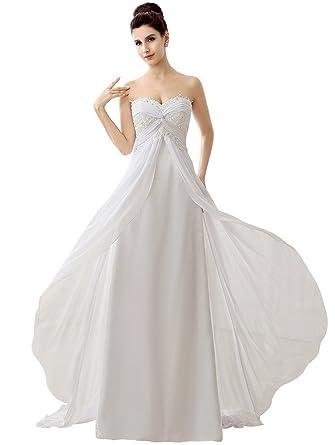 Edith qi Women\'s Lace Sweetheart Chiffon Front Cross Bridal Gown ...