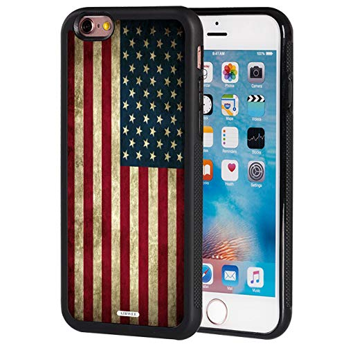 iPhone 6S Case,iPhone 6 Case,AIRWEE Slim Impact Resistant Shock-Absorption Silicone TPU Back Protective Case Cover for Apple iPhone 6/6S 4.7 inch,Retro Vintage Old USA American Flag