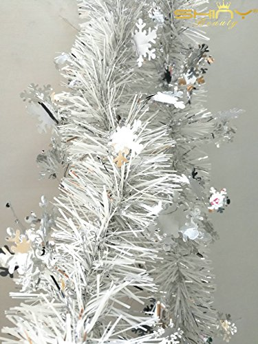 Ready To Ship! Metallic- Foil-Fringe-Tinsel-Garland Silver 3.4Inchx6.5Ft For Holiday or Party Ornament-TG001 -