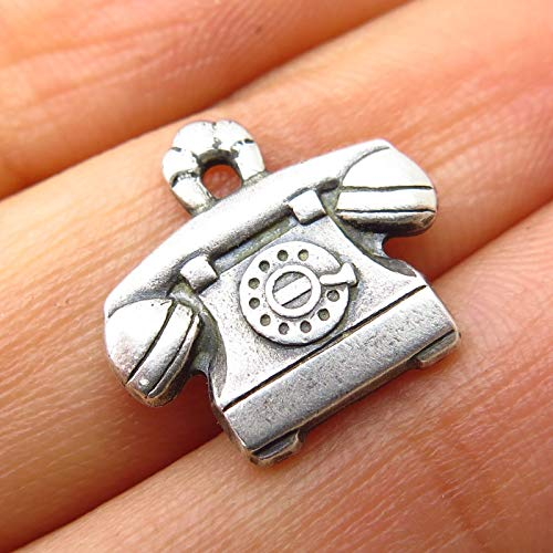 Vintage Signed 925 Sterling Silver Retro Phone Charm Pendant by Wholesale Charms