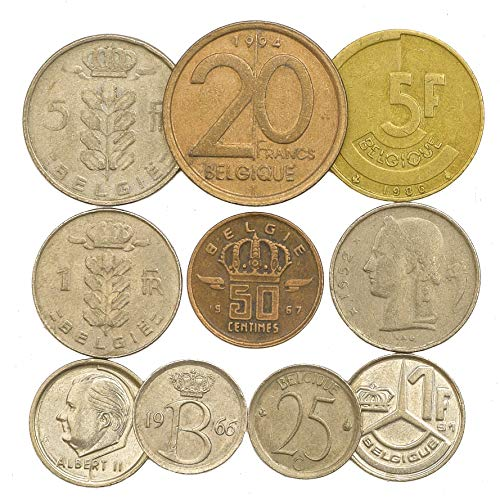 10 Old Coins from Belgium. Collectible Coins: FRANCS, CENTIMES Old Collectible Coins 1948-2001. Perfect Choice for Your Coin Bank, Coin Holders and Coin Album